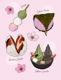 Popular kind of sweets Japanese set stock illustration