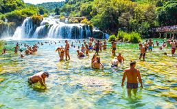 Popular Krka national park with people swimming in Croatia Royalty Free Stock Photos