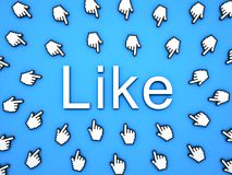 Popular Like concept many hand cursors mouse clicking like button or link on blue background. With shadows . 3D rendering Stock Images