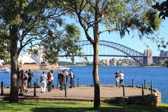 Sydney harbor scenic outpost with people Stock Image