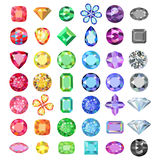 Popular low poly colored gems cuts set gradation by color of the. Rainbow  on white background, vector illustration Royalty Free Stock Image