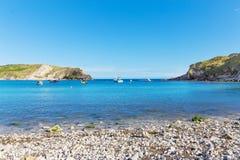 Popular Lulworth Cove Atlantic ocean coast, Dorchester, England, Royalty Free Stock Photography
