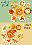 Popular lunch food icon set for menu design Royalty Free Stock Image