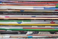 Popular magazine. Background Pile popular weekly magazines Stock Photos