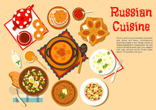 Popular main dishes and dessert of russian cuisine Stock Photography