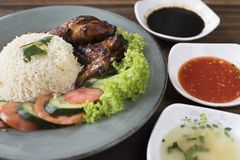Popular Malaysian dish Nasi Ayam or chicken rice royalty free stock image