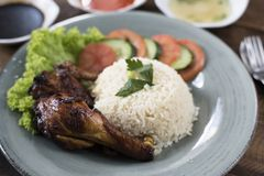 Popular Malaysian dish Nasi Ayam or chicken rice stock photos