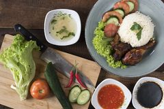 Popular Malaysian dish Nasi Ayam or chicken rice royalty free stock photos