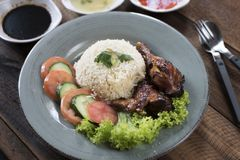 Popular Malaysian dish Nasi Ayam or chicken rice stock images