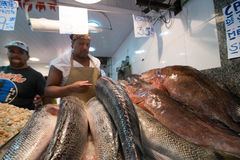 Popular Market. RIO DE JANEIRO, RJ/Brazil - APRIL 03, 2015: S Fish vendor in the popular market St. Peter with some in the foreground stock images