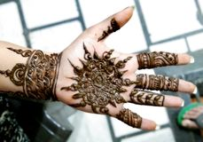 Popular Mehndi Designs for Hands Indian traditions. Popular Mehndi Designs for Hands or Hands painted with Mehandi Indian traditions royalty free stock photography