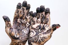 Popular Mehndi Designs for Hands Indian traditions. Popular Mehndi Designs for Hands or Hands painted with Mehandi Indian traditions royalty free stock photos