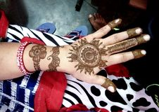 Popular Mehndi Designs for Hands Indian traditions. Popular Mehndi Designs for Hands or Hands painted with Mehandi Indian traditions stock photography