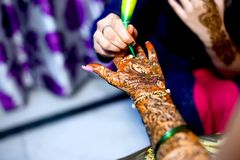 Popular Mehndi Designs for Hands Indian traditions. Popular Mehndi Designs for Hands or Hands painted with Mehandi Indian traditions royalty free stock image