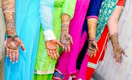Popular Mehndi Designs for Hands Indian traditions. Popular Mehndi Designs for Hands or Hands painted with Mehandi Indian traditions royalty free stock images