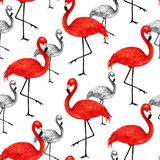 Popular modern style print with red and black flamingo. Trendy s. Eamless pattern stock illustration