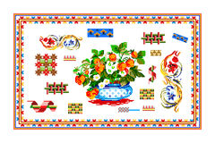 Popular motif, pattern, regular motif, tablecloth. Regular popular motifs. Can be used as carpet or tablecloth or a background for events Royalty Free Stock Image