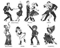 Popular Native Dance Black Icons Set Stock Images