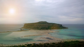 Popular natural attraction of the island of Crete: Balos Bay in cloudy weather Stock Photos