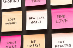 Popular new year goals or resolutions on a blackboard Stock Image