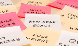 Popular new year goals or resolutions on colorful sticky blank n Royalty Free Stock Photography
