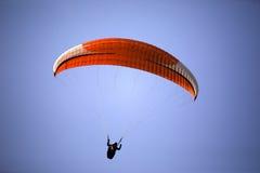 Popular paragliding above a lake,  Lago di Garda, Italy Stock Photos