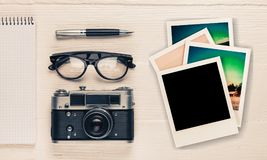 Popular. Photo table instant print travel brown Royalty Free Stock Photos