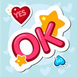 Popular phrases. Yes No OK. Sticker Design elements illustration vector illustration