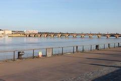 Stone bridge Garonne River Bordeaux France Royalty Free Stock Images