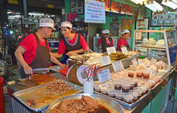 Popular Pork Chop Bun Stall in Chatuchak Weekend Market Royalty Free Stock Photos