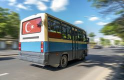 The popular public vehicle of transport is called `dolmus` on the street. Ankara, Turkey royalty free stock image