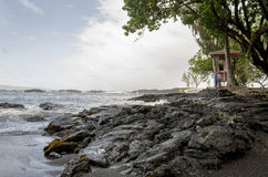 Popular but Quiet Rocked Coastline in Hawaii stock photo