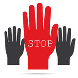 Popular raise red color right hand up with word stop  ve Royalty Free Stock Photos