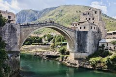 Popular reconstructed Old Bridge Mostar Bosnia Herzegovina. The popular reconstructed Old Bridge Mostar Bosnia Herzegovina Royalty Free Stock Photo