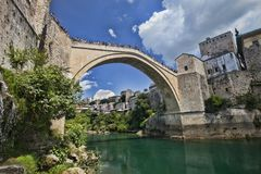 Popular reconstructed Old Bridge Mostar Bosnia Herzegovina. The popular reconstructed Old Bridge Mostar Bosnia Herzegovina Stock Image