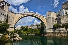 Popular reconstructed Old Bridge Mostar Bosnia Herzegovina. The popular reconstructed Old Bridge Mostar Bosnia Herzegovina Royalty Free Stock Photography