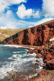 The popular Red Beach, Santorini, Greece Stock Photo