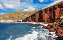 The popular Red Beach, Santorini, Greece Royalty Free Stock Photos