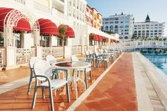 The popular resort Amara Dolce Vita Luxury Hotel. With pools and water parks and recreational area along the sea coast. In Turkey. Tekirova-Kemer stock image