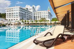The popular resort Amara Dolce Vita Luxury Hotel. With pools and water parks and recreational area along the sea coast. In Turkey. Tekirova-Kemer royalty free stock image
