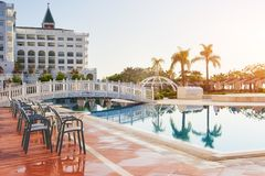The popular resort Amara Dolce Vita Luxury Hotel. With pools and water parks and recreational area along the sea coast. In Turkey at sunset. Tekirova-Kemer stock photo