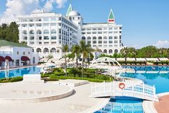The popular resort Amara Dolce Vita Luxury Hotel. With pools and water parks and recreational area along the sea coast in Turkey. Tekirova-Kemer royalty free stock images