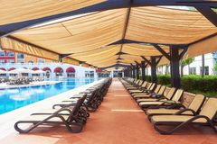 The popular resort Amara Dolce Vita Luxury Hotel. With pools and water parks and recreational area along the sea coast. In Turkey. Tekirova-Kemer royalty free stock photos
