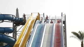 Popular resort with pools and aquapark in hotel in Egypt stock footage