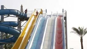 Popular resort with pools and aquapark in hotel in Egypt stock video footage