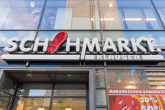 The popular retail chain of footwear stores. DRESDEN, GERMANY - SEPTEMBER 09, 2015: The popular retail chain of footwear stores 'Schuhmarkt Klauser'. Schuhhaus stock image