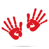 Popular scream red blood two handprints halloween  on wh Stock Image