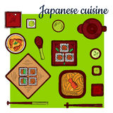 Popular seafood dishes of japanese cuisine sketch. Popular oriental seafood dishes of japanese cuisine colorful sketch icon with noodles topped with spicy prawn Royalty Free Stock Images