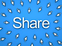 Popular Share concept many arrow cursors mouse clicking share button or link on blue background. Popular Share concept , many arrow cursors mouse clicking share Royalty Free Stock Photos