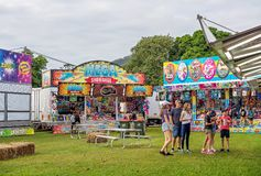 Popular Show Bags For Sale At Country Fair. MACKAY, QUEENSLAND, AUSTRALIA - JUNE 16TH 2019: Show bag stalls for sale at Pioneer Valley Country Show royalty free stock photography